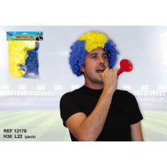 Perruque de supporter – Bleu et jaune