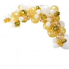 Guirlande de ballons or et blanc - 70 ballons