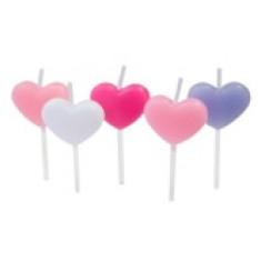 5 Bougies sur piques coeurs