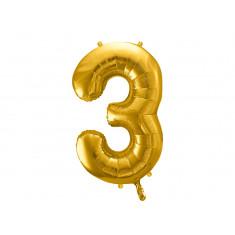 Ballon chiffre 3 or - 86 cm