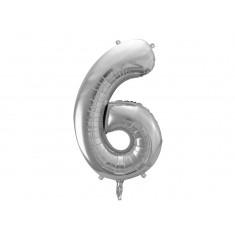 Ballon chiffre 6 argent - 86 cm