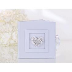 Livre d'or mariage coeur fleur blanc
