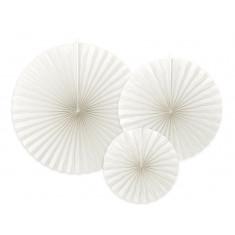 3 Rosaces décoratives blanches - 23/32/40cm
