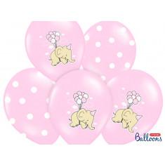 6 ballons éléphant - rose clair