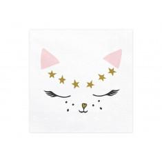 20 Serviettes jetables chat Kitty - 33 cm x 33 cm