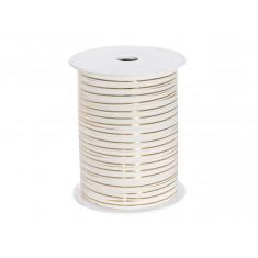 Ruban bolduc blanc rayure or - 0.5cm x 225m