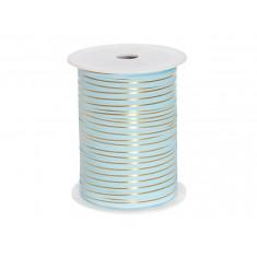 Ruban bolduc bleu ciel rayure or - 0.5cm x 225m