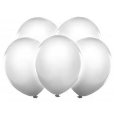 5 Ballons LED blancs - 12 cm