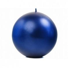 Bougie ronde marine métallisé - Ø 6 cm