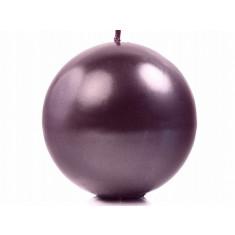 Bougie ronde métallisé prune 10cm