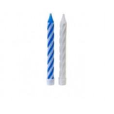 Bougie anniversaire blanche et bleue x10