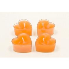 Bougie chauffe-plat - Coeur - orange  - x4