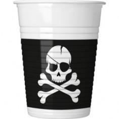 8 Gobelets  Pirate tête de mort - 200 ml