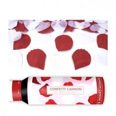 Canon pétales de roses avec cœurs rouge et blanc