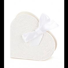 10 Boîtes à dragées coeur blanches