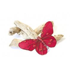 4 papillons strass sur pince 8 cm - rouge