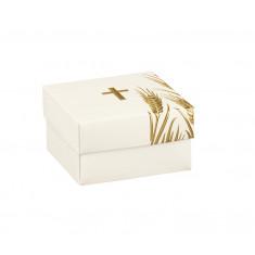 10 Boîtes à dragées croix or et blanc 6 x 6 x 3,5 cm