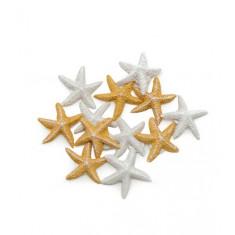 12 étoiles de mer adhésives - blanc et ivoire