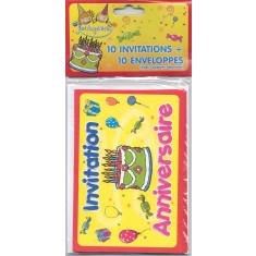 "10 invitations + 10 enveloppes ""Joyeux Anniversaire"""