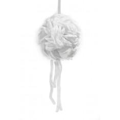 Boule pétales de rose blanche + ruban 16 cm
