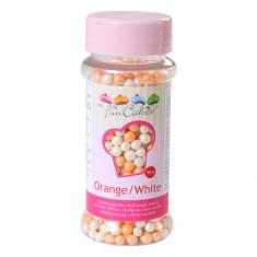 Perles comestibles orange et blanches 60 g