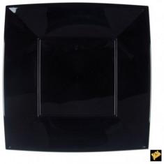 12 grandes assiettes plates carrées noire