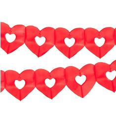 Guirlande en papier - coeur creusé - rouge