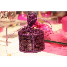 Boites dragees rondes en sinamay -  violet 4,5 cm x 4,5 x 10 cm