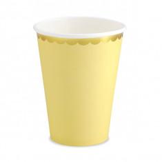 6 Gobelets jaune et or - 220 ml