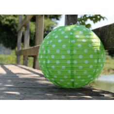 Lampion vert anis à pois  - 50 cm