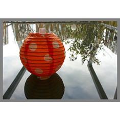 5 lampions oranges à pois - 7.8 cm
