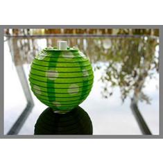 5 Lampions à pois vert anis - 7.8 cm
