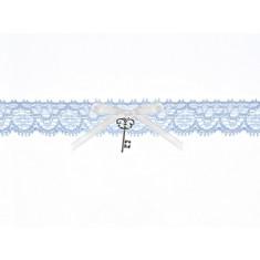 Jarretière en dentelle avec ruban et pendentif clé - bleu ciel
