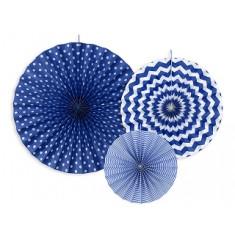 3 rosaces décoratives - bleu marine