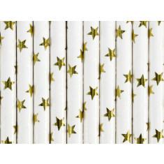 10 X Pailles blanches et étoiles dorées