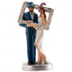 Figurine mariés cadre photo 18 cm
