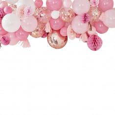 Guirlande de ballons et accessoires deco rose