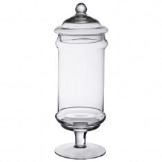 Bonbonnière en verre sur pied longue 35 cm x 12.5 cm