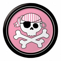 8 assiettes Pirate Party rose - Ø 18 cm