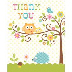 Carte Merci baby-shower hibou  x8