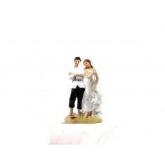 Sujet jeunes mariés plage - 15,5 cm