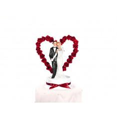 Couple de mariés - Arche fleurie rouge