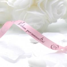 Ruban personnalisé rose satin - 10 Mètres