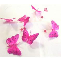 Guirlande 6 papillons - fuchsia