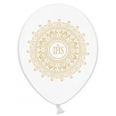 6 Ballons communion blanc et or