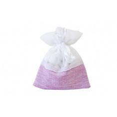 5 Sachets à dragées imitation toile de jute rose et coton blanc - 8 cm x 10 cm