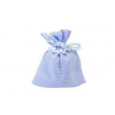 4 sachets à dragées à rayures bleues et blanches - 8 x 10 cm