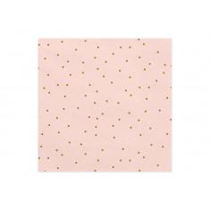 20 Serviettes jetables roses à pois dorés - 33 cm x 33 cm