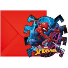 6 Cartes d'invitation et enveloppes Spiderman