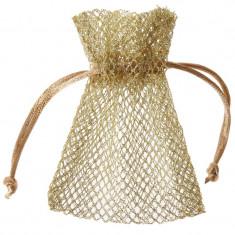 6 x Sachet dragées tissu nid d'abeille - or